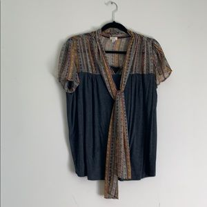 Anthropologie blouse with long bow